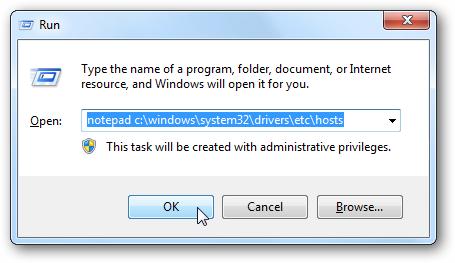 Editar hosts file a Windows