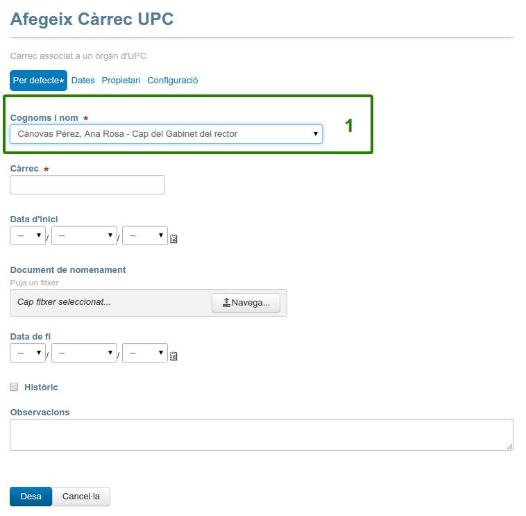 Formulari de creació de Càrrec UPC