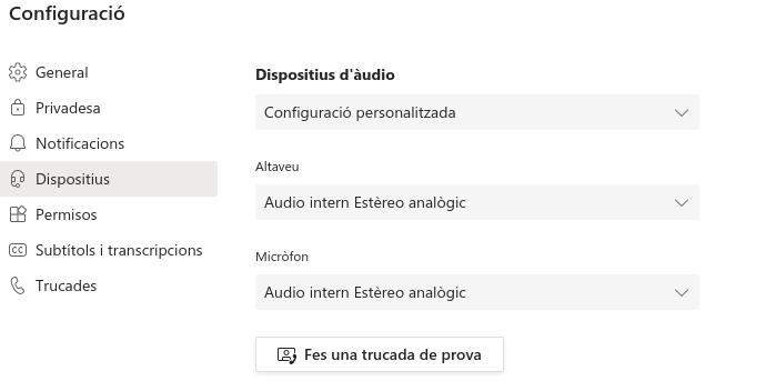 Configuració Dispositius Team