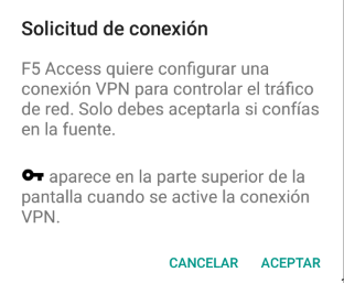 F5 Access Android Client - Warning